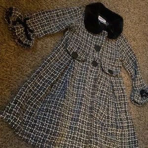 Girls knit pleated trench coat 4T